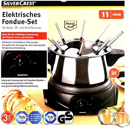 SILVERCREST ELEKTRISCHES FONDUE Set Küche Raclette Fondue