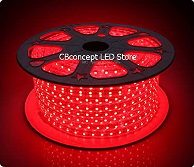 CBConcept 90FT RED 120 Volt High Output LED SMD5050 Flexible Flat LED Strip Rope Light - [Christmas Lighting, Indoor / Outdoor rope lighting, Ceiling Light, kitchen Lighting] [Dimmable] [Ready to use] [7/16 Inch Width X 5/16 Inch Thickness]