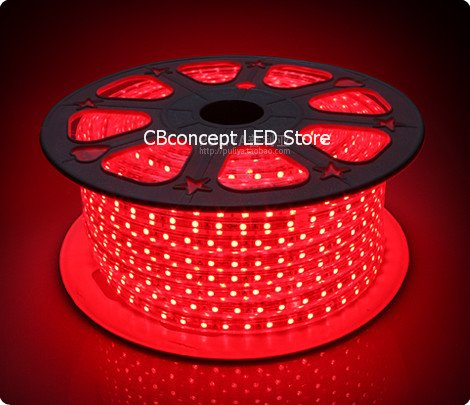 CBConcept 90FT RED 120 Volt High Output LED SMD5050 Flexible Flat LED Strip Rope Light - [Christmas Lighting, Indoor / Outdoor rope lighting, Ceiling Light, kitchen Lighting] [Dimmable] [Ready to use] [7/16 Inch Width X 5/16 Inch Thickness] by CBconcept