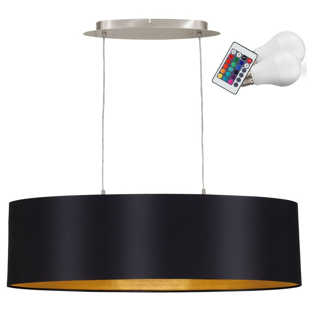 RGB LED 14 Watt Pendel Leuchte Farbwechsler Textil Schwarz Gold Hänge Lampe Dimmbar
