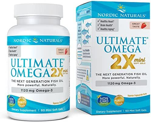 Nordic Naturals Ultimate Omega 2X Mini - Concentrated Omega-3 Supplement, Strawberry Flavor, 60 Count