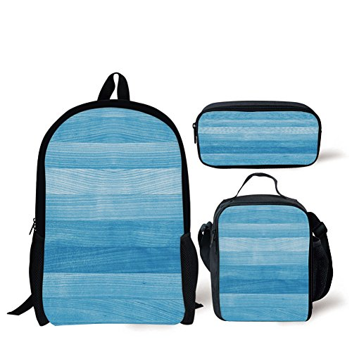 School Lunch Pen,Light Blue,Wooden Planks Painted Texture Image Oak Tree Surface Maple Pine Board Stripes Decorative,Light Blue,Bags