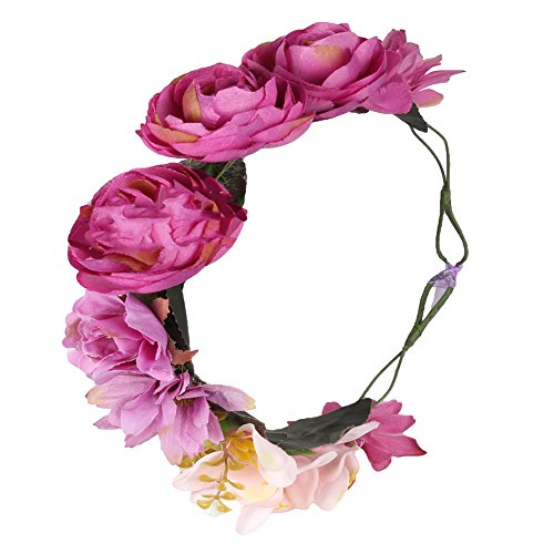 [Bueer Flower Wreath Headband Crown Floral Garland Boho for Festival Wedding (Rose)] (Gold Antler Crown)