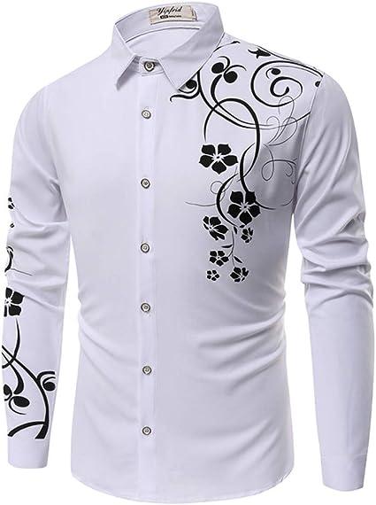 SFYZY Camisa de Hombre Camisa de Manga Larga con Estampado 3D Camisa de Manga Larga Ropa Camisa de Manga Larga Delgada con Estampado de Moda