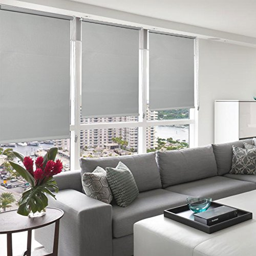 LUCKUP 100% Blackout Waterproof Fabric Window Roller Shades Blind, Thermal Insulated,UV protection,For Bedrooms,Living room,Bathroom,The office, Easy To Install 26″ W x 79″ L(Grey)