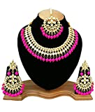 Finekraft Meena Kundan Bridal Wedding Designer Gold Plated Pink Color Necklace Jewelry Set