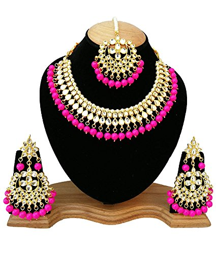 Finekraft Meena Kundan Bridal Wedding Designer Gold Plated Pink Color Necklace Jewelry Set by Finekraft