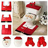 Happy Santa Toilet Seat Cover + Rug + Tank & Tissue Box Cover   Xmas Gift for Bathroom Christmas Decoration Set of 3 (Red)