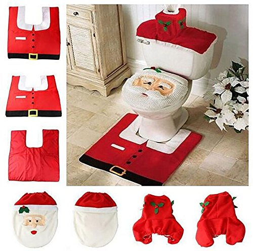 Happy Santa Toilet Seat Cover + Rug + Tank & Tissue Box Cover | Xmas Gift for Bathroom Christmas Decoration Set of 3 (Red) (Bath Christmas Ideas)
