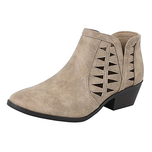 SODA Women's Perforated Cut Out Stacked Block Heel Ankle Booties Mid Taupe 8 (Womens Ankle Boots Size 8)