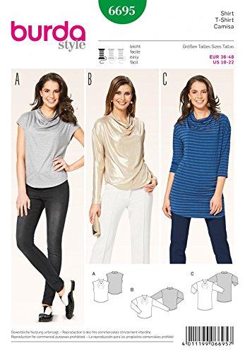 Burda Ladies Easy Sewing Pattern 6695 Cowl Neck Tops & Tunic: Amazon ...