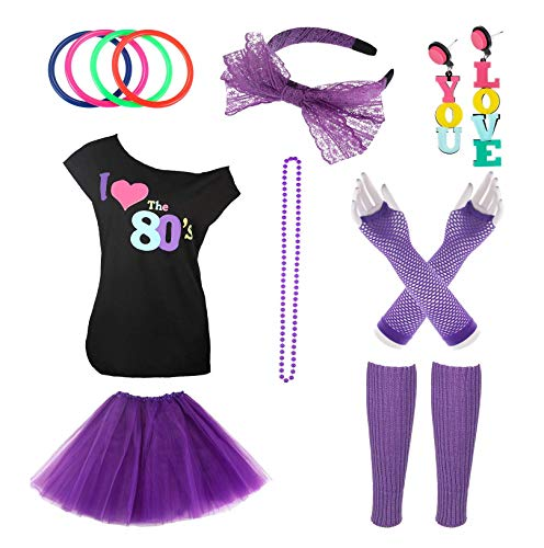 Jetec 80s Costume Accessories Set Necklace Bangle Leg Warmers Earrings Gloves Tutu Skirt T-Shirt for Party Accessory (M, Set 2) for $<!--$27.99-->