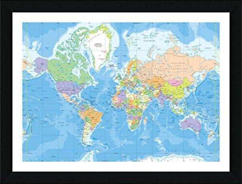 Modern Day World Map.Amazon Com Alonline Art Political Modern World Map Black Framed