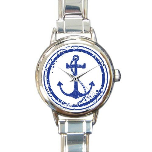 Christmas Day Gift Retro Anchor Art Design Round Italian Charm stainless steel Watch by Cool Anchor Watch (Image #1)