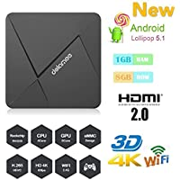 HONGYU [New Series] D5 Android TV Box 1GB /8GB Rockchip RK3229 Quad Core 32bit Android 5.1 with 2.4G Wifi 100M LAN 4K HD H.265 HDMI OTT TV Player