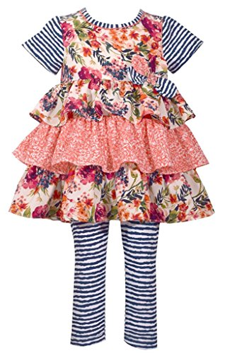 - Bonnie Jean Short Sleeve Pink Floral Print Tiered Dress and Blue Striped Legging Set 18 Months