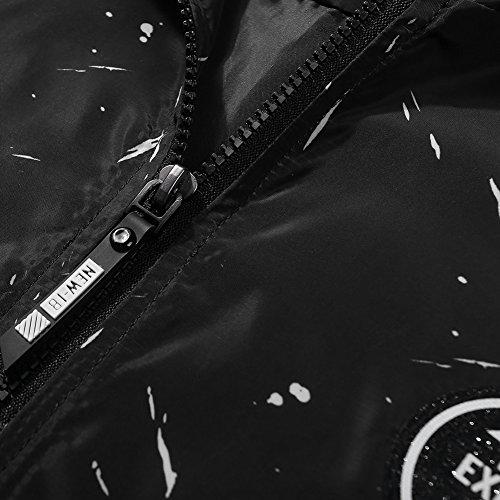 Homme Noir Manluodanni Et Veste Bomber vent Jacket Manches Imperméable Coupe Avec Longues Pilot Chapeau dOOUwrBqz