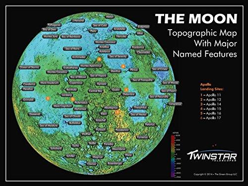 Black 50mm Kids Lunar Refractor Telescope with Moon Map