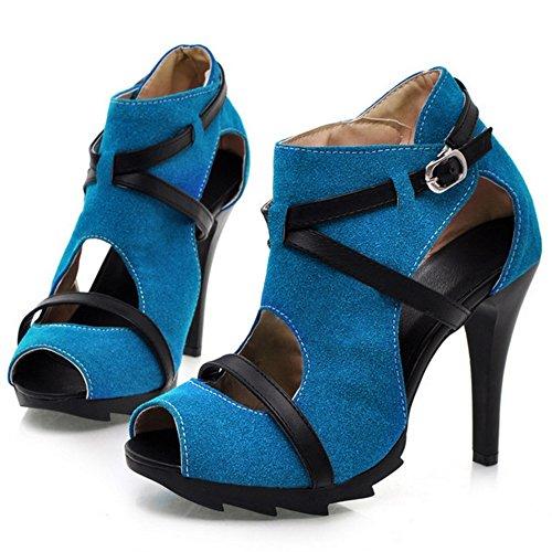 Da Blue Moda Sandali Cut Out Estate Donna Col COOLCEPT Tacco Scarpe Alto wOq7YPAI