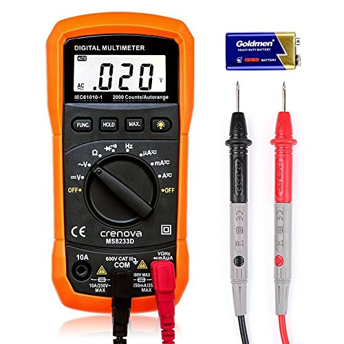 : Digital Multimeter, Crenova MS8233D Auto-Ranging Digital Multimeters Electronic Measuring Instrument AC Voltage Detector Portable Amp / Ohm / Volt Test Meter Multi Tester w/ Diode and Continuity Test Scanners Home Use Electronic DIY Hand Tools with Backlight LCD Display