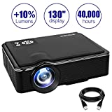 Projector 2400 Lumens LED Mini 1080P Projector, Portable Movie Projector HDMI USB TF VGA AV, Multimedia Home Theater HDMI Cable-SOMEK K99(Black)