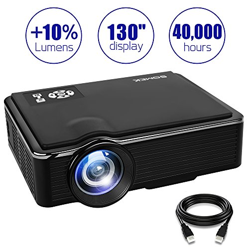 SOMEK Projector 2400 Lumens LED Mini 1080P Projector, Portable Movie Projector HDMI USB TF VGA AV, Multimedia Home Theater with HDMI Cable K99(Black) by SOMEK