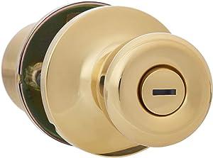 AmazonBasics Bedroom/Bathroom Door Knob With Lock, Bell, Polished Brass