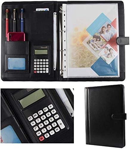 WZJN Schreibmappen PU-Leder Business Group Aktenkoffer Kasten Taschenrechner und Schreibblock Ordner Zwischenablage (Farbe : Black, Size : 334x245mm)