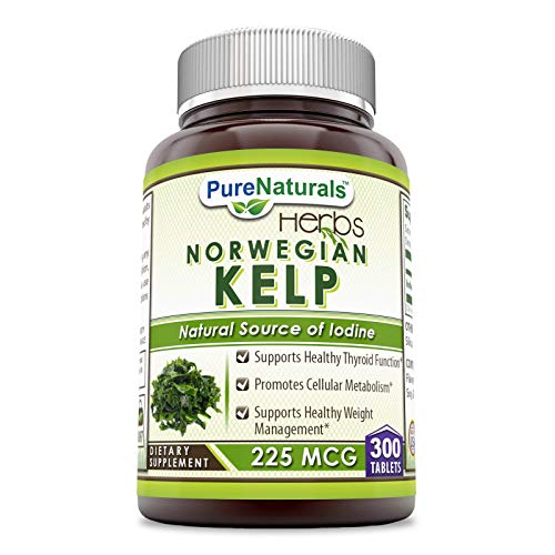 (Pure Naturals Norwegian Kelp 225 Mcg, 300 Tablets- Supports Healthy Thyroid Function, Promote Cellular Metabolism, Supports Healthy Weight Management )