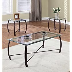 Kings Brand Furniture 3 Piece Beveled Glass with Copper Bronze Metal Frame Coffee Table & 2 End Tables Set