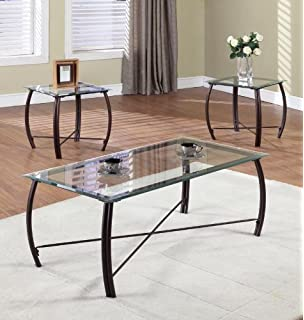Kings Brand Furniture 3 Piece Beveled Glass With Copper Bronze Metal Frame Coffee Table 2