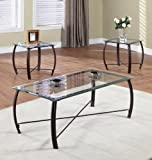 Glass Coffee Table in Living Room Kings Brand Furniture 3 Piece Beveled Glass with Copper Bronze Metal Frame Coffee Table & 2 End Tables Set