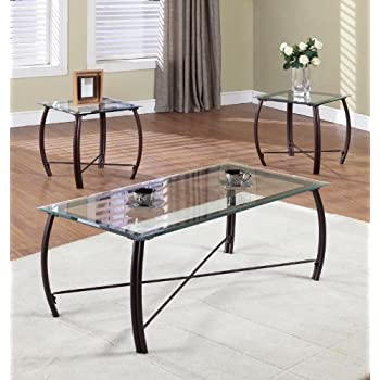 this item kings brand furniture 3 piece beveled glass with copper bronze metal frame coffee table 2 end tables set