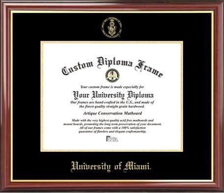 - Laminated Visuals University of Miami (FL) Hurricanes - Embossed Seal - Mahogany Gold Trim - Diploma Frame
