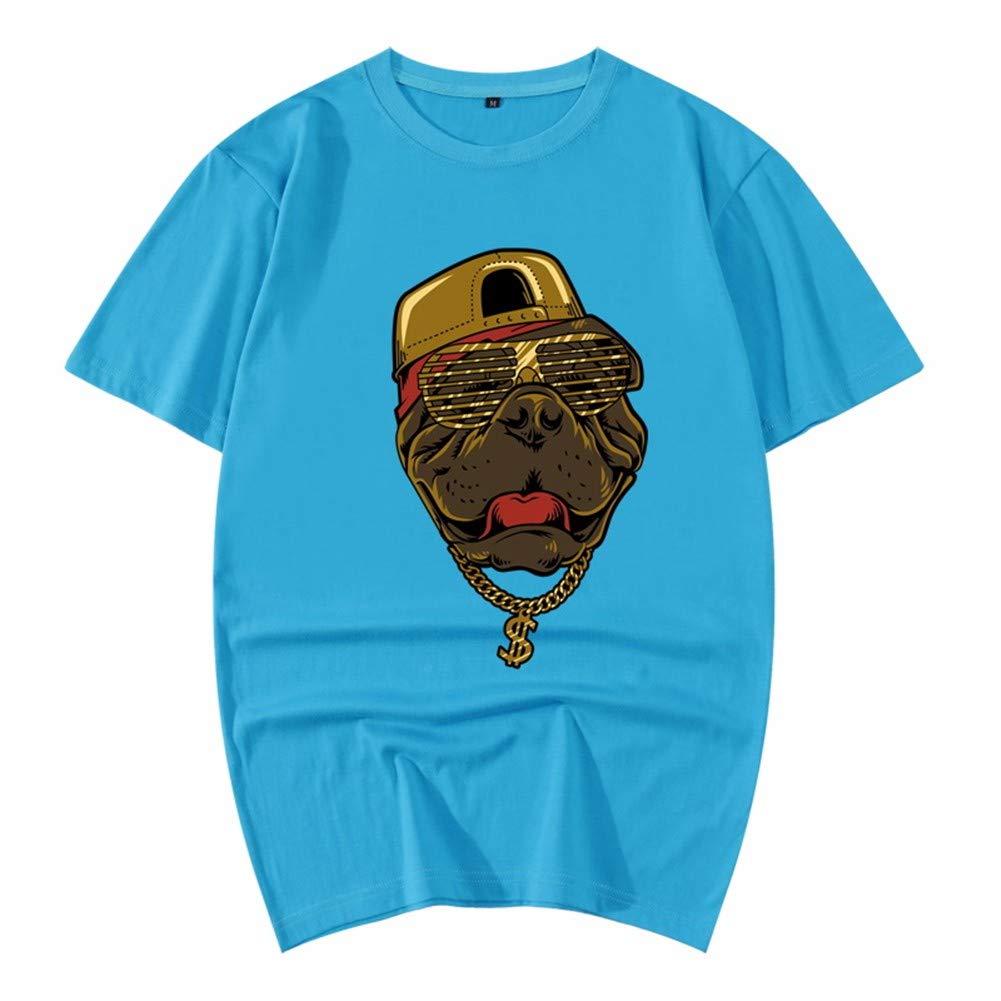 3D-Pullover 2018 Rotes Kleid Baumwolle Sommer Kurzarm T-Shirt Lose 3D Tier Muster Herren Shirt 165   S Cyan 2