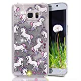 Galaxy S6 Edge Plus Case, Crazy Panda® Samsung Galaxy S6 Edge Plus 3D Creative Design Flowing Liquid Floating Bling Glitter Sparkle Star Crystal Clear Case Cover for S6 Edge plus - colorful horse