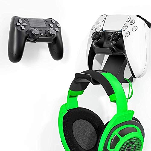 [Latest Version] 2 Set Controller and Headphone Stand Holder with Cord Holders for PS5 PS4 Xbox One Switch Pro Gamepad Controller Wall Mount 3M Strong Adhesive/Screws, Shark 12 Pro by 6amLifestyle