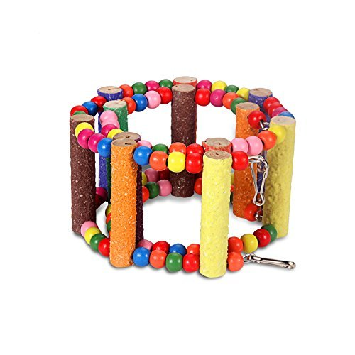 Comsmart Flexible Colorful Ladder Bird Toy, Swing Wooden Rainbow Bridge with Hooks for Pet Parrots Training (12 Steps) by LXLP