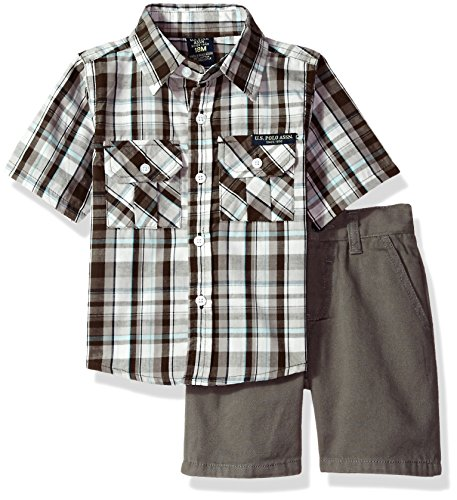 Plaid Short Sleeve Polo Shirt (U.S. Polo Assn. Baby Boys' 2 Pieces Gray Plaid Short Sleeve Shirt and Gray Twill Shorts Set, Dark Grey, 18 Months)