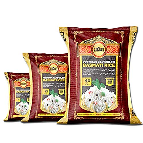 Premium Quality Crown White Parboiled (Sella) Basmati Rice - Organic White Aged Basmati Rice - 100% Authentic Extra Long Grain White Basmati Rice From the Foothills of Himalayas 10 lbs.