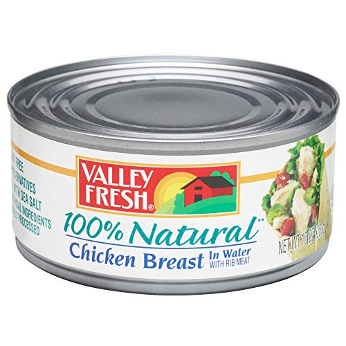 Ingredients 100% Chicken Breast - Valley Fresh 100% Natural Canned Chicken Breast with Rib Meat in Broth, 10 Ounce (Pack of -