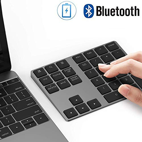 Bluetooth Number Pad, Lekvey Aluminum Rechargeable Wireless Numeric Keypad Slim 34-Keys External Numpad Keyboard Data Entry Compatible for Macbook, MacBook Air/Pro, iMac Windows Laptop Surface Pro etc ()