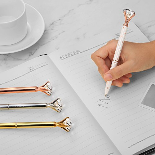Bememo 4 Pieces Big Crystal Diamond Pen Metal Ballpoint Pen Black Ink and 4 Pieces Ballpoint Pen Refills Photo #9