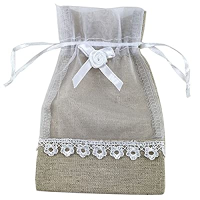 """SumDirect 20Pcs 4""""x6"""" High Quality Elegant Linen Organza Lace Bow Drawstring Pouches Wedding Party Christmas Holiday Favor Gift Bags from SumDirect"""