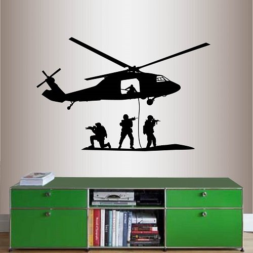 Helicopter Olive (Wall Vinyl Decal Home Decor Art Sticker Soldiers in Action Army Military Helicopter Room Removable Stylish Mural Unique Design)