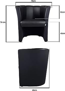 Fortisline Fauteuils cabriolet en simili cuir noir W042 01