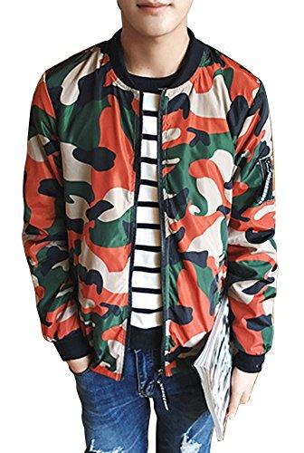 BICMART Men Fashion Cool Big Camo Bomber Jacket Coat Military Jacket (Military Bomber)