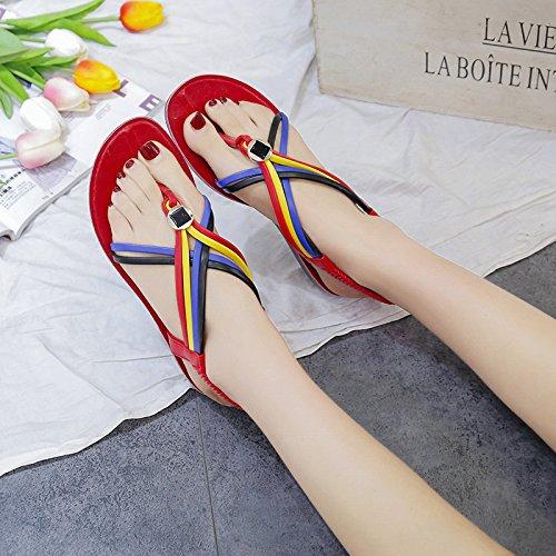 Joker Chaussures t 37 Station Mme Femme Loisirs Sandales Fminins Couleur Modles Clip De Lutte Rouge Plage Boho Loisir Fond Ittxtti Nouvelle SYzwzq