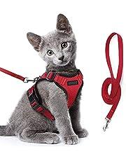 Escape Proof Cat Harness and Leash Set Reflective Strap Adjustable Soft Mesh Vest for Dog Kitten Red
