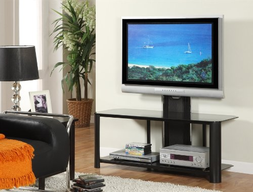 Elite Collection Black Glass TV Stand with Included Mount